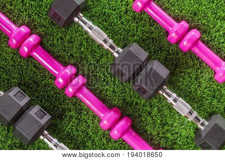 Dumbbells on the grass. Pattern background texture