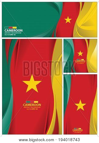 Cameroon flag abstract colors background. Collection banner design. brochure vector illustration.