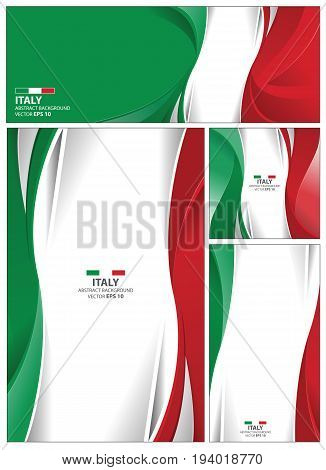 Italy flag abstract colors background. Collection banner design. brochure vector illustration.