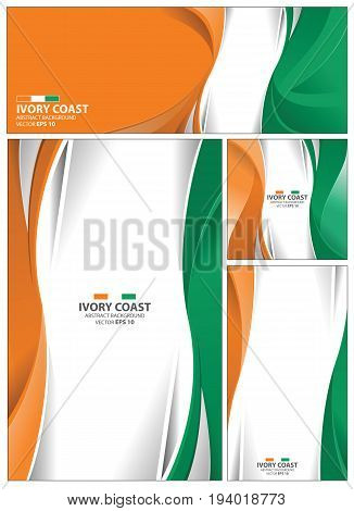 Ivory Coast flag abstract colors background. Collection banner design. brochure vector illustration.