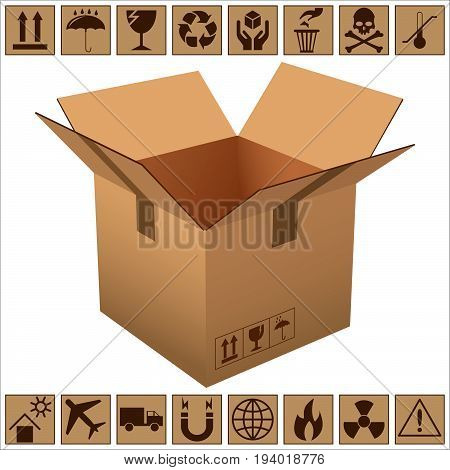 open the cardboard box and icons of fragility and recycling on white background vector illustration