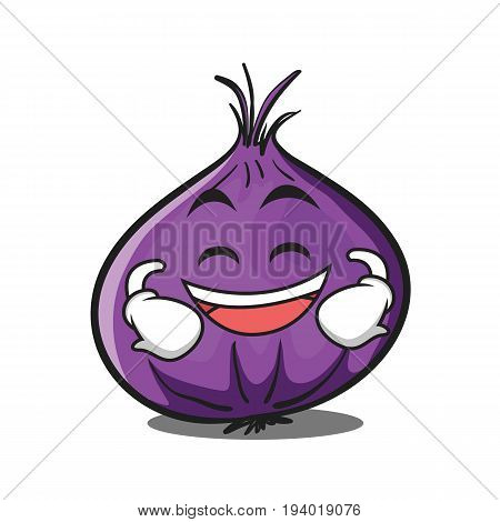 Grinning red onion character cartoon vector illustration