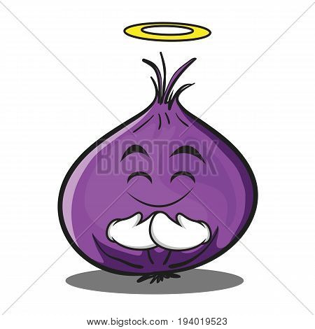 Innocent red onion character cartoon vector illustration