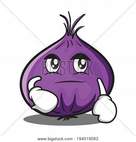 Smirking red onion character cartoon vector illustration