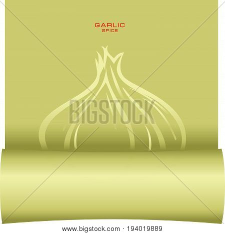 Parchment with a symbol of garlic. A poster for garlic is a spice.