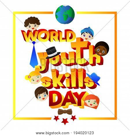 Illustrated banner greeting card or poster for World Youth Skills Day.