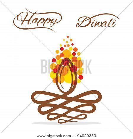 abstract shape Diwali  diya, happy Diwali  greeting design