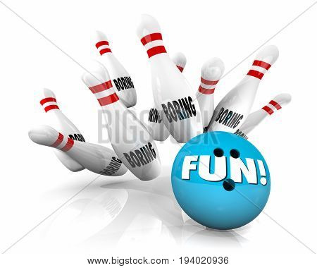 Fun Vs Boring Bowling Ball Stikes Pins 3d Illustration