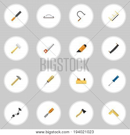 Set Of 16 Editable Instrument Icons. Includes Symbols Such As Knife, Boer, Nag And More. Can Be Used For Web, Mobile, UI And Infographic Design.