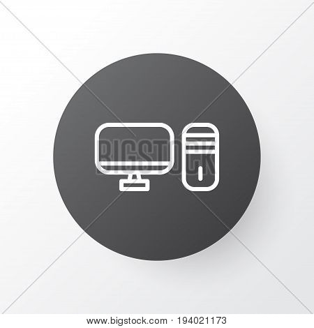 Desktop PC Icon Symbol. Premium Quality Isolated Personal Computer Element In Trendy Style.