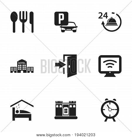 Set Of 9 Editable Motel Icons. Includes Symbols Such As Restaurant, Townhouse, Alarm And More. Can Be Used For Web, Mobile, UI And Infographic Design.
