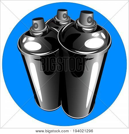 icon cans of spray paint to paint graffiti on a white background vector