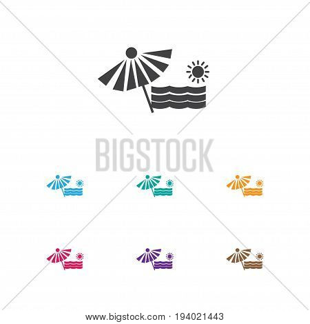 Vector Illustration Of Travel Symbol On Beach Icon. Premium Quality Isolated Plage Element In Trendy Flat Style.