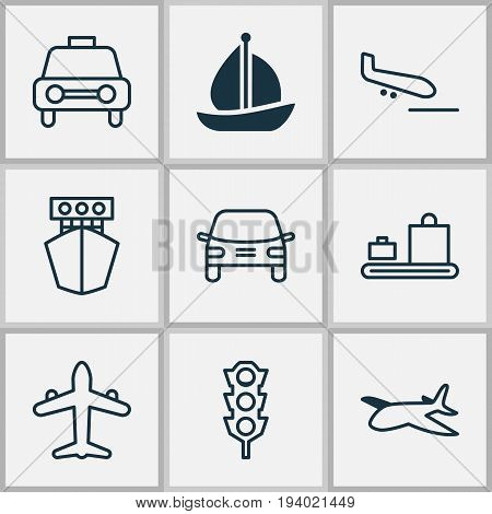 Shipping Icons Set. Collection Of Taxi, Stoplight, Sailboat And Other Elements. Also Includes Symbols Such As Lights, Automobile, Airplane.