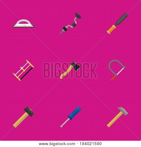 Set Of 9 Editable Equipment Icons. Includes Symbols Such As Emery Paper, Rasp, Boer And More. Can Be Used For Web, Mobile, UI And Infographic Design.