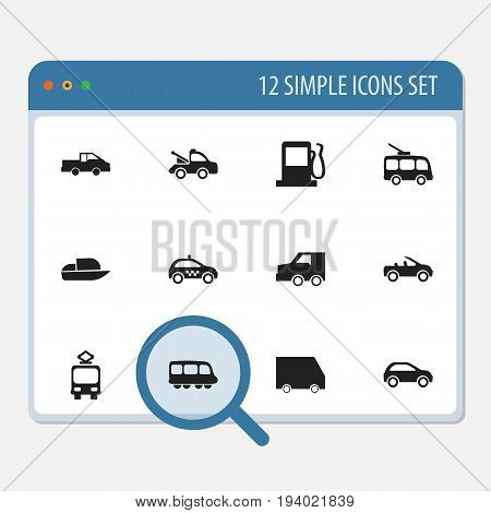 Set Of 12 Editable Transport Icons. Includes Symbols Such As Auto, Yacht, Omnibus And More. Can Be Used For Web, Mobile, UI And Infographic Design.