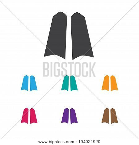 Vector Illustration Of Trip Symbol On Flippers Icon. Premium Quality Isolated Diver Shoes Element In Trendy Flat Style.