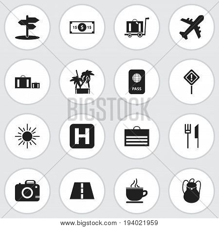 Set Of 16 Editable Trip Icons. Includes Symbols Such As Crossroad, Breakfast, Helipad And More. Can Be Used For Web, Mobile, UI And Infographic Design.