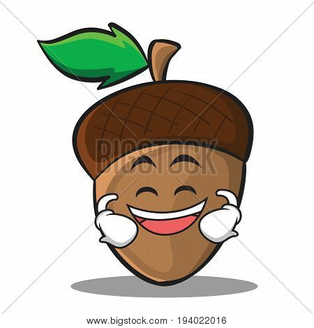 Grinning acorn cartoon character style vector illustration