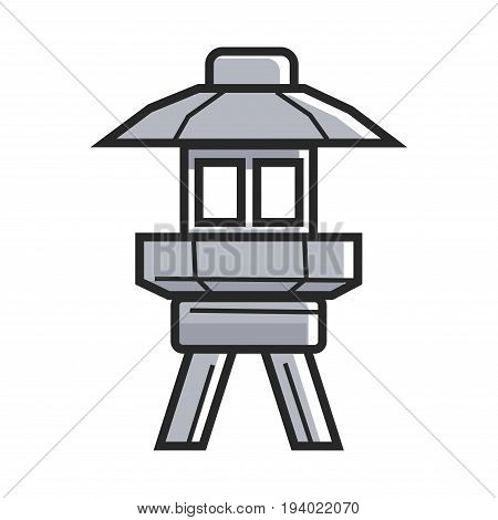 Japanese street ground lamp in solid metal corpus on legs and with small roof isolated flat cartoon vector illustration on white background. Exterior illumination in specific oriental style.