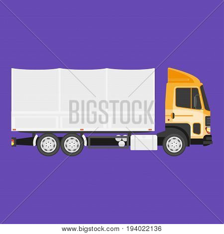 Vector illustration of big heavy truck vehicle with cargo in side view.