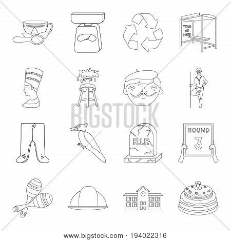 sport, miner, education and other  icon in outline style. ritual, history, art icons in set collection.