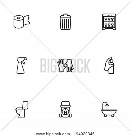 Set Of 9 Editable Hygiene Icons. Includes Symbols Such As Spray, Lavatory, Bathtub And More. Can Be Used For Web, Mobile, UI And Infographic Design.
