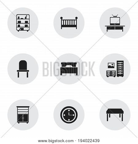 Set Of 9 Editable Furnishings Icons. Includes Symbols Such As Lectern, Tv, Locker And More. Can Be Used For Web, Mobile, UI And Infographic Design.