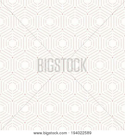 Geometric repeating vector pink ornament with hexagonal dotted elements. Geometric modern ornament. Seamless abstract modern pattern