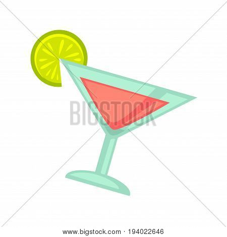 Night club or disco party cocktail drink or fruit juice in glass with lemon. Vector flat icon of alcohol beverage for glamor lounge bar