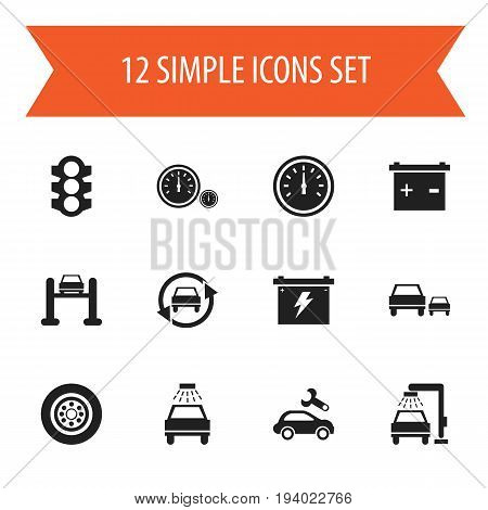 Set Of 12 Editable Vehicle Icons. Includes Symbols Such As Accumulator, Stoplight, Automotive Fix And More. Can Be Used For Web, Mobile, UI And Infographic Design.