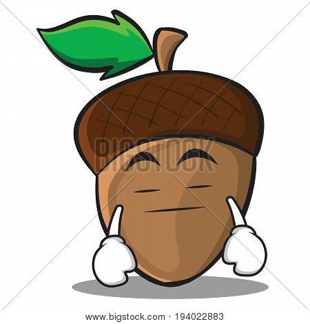 Boring acorn cartoon character style vector illustration