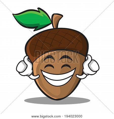 Proud acorn cartoon character style vector illustration