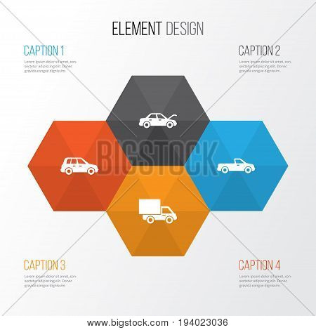 Car Icons Set. Collection Of Car, Carriage, Fixing And Other Elements. Also Includes Symbols Such As Automobile, Auto, Lorry.