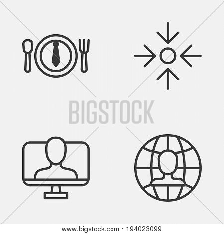 Business Icons Set. Collection Of Global Work, Online Identity, Business Aim And Other Elements. Also Includes Symbols Such As Identity, Project, Global.