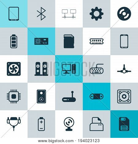 Computer Icons Set. Collection Of Audio Device, Loudspeakers, Power Generator And Other Elements. Also Includes Symbols Such As Keypad, Gear, Accumulator.
