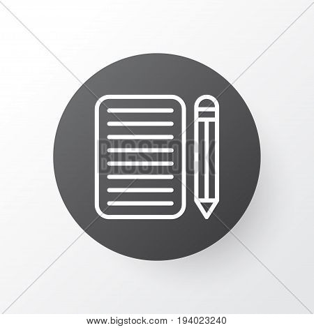 Essay Writing Icon Symbol. Premium Quality Isolated Home Work Element In Trendy Style.
