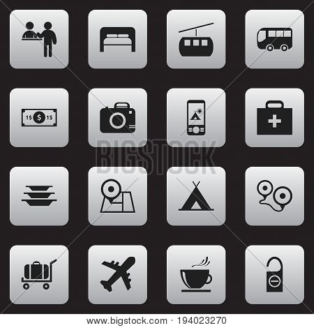 Set Of 16 Editable Travel Icons. Includes Symbols Such As Greenback, Photo Cam, Do Not Disturb And More. Can Be Used For Web, Mobile, UI And Infographic Design.