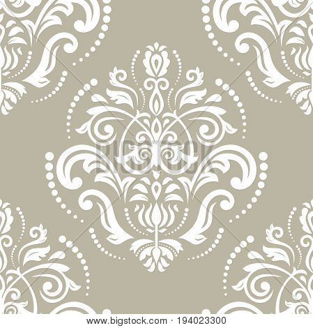 Orient vector classic white pattern. Seamless abstract background with repeating elements. Orient background