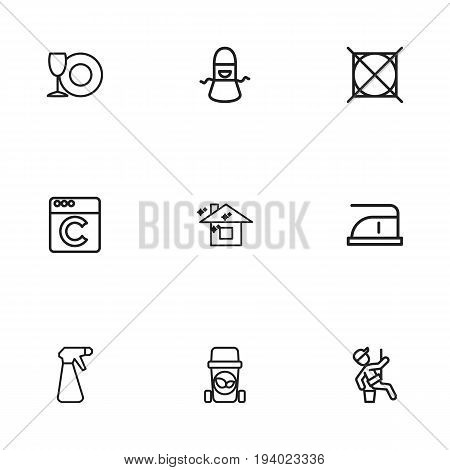 Set Of 9 Editable Cleanup Icons. Includes Symbols Such As Spray, Attention, Window Cleaner And More. Can Be Used For Web, Mobile, UI And Infographic Design.