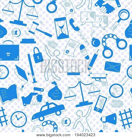 Seamless pattern with hand drawn icons on the theme of law and crime a blue silhouettes of icons on the background of polka dots