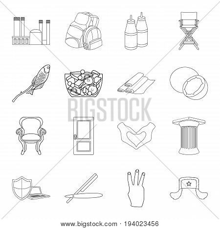 history, fishery, fitness and other  icon in outline style. hairdresser, cooking, traveling icons in set collection.