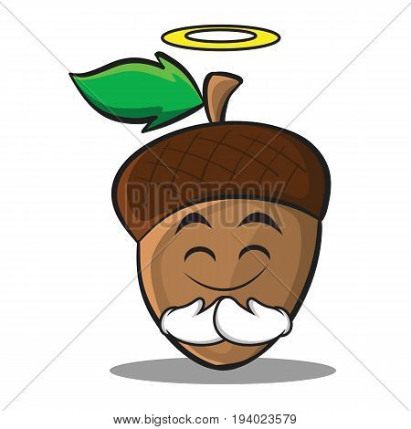 Innocent acorn cartoon character style vector illustration