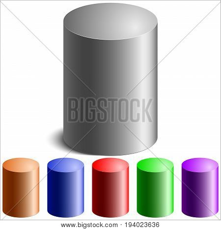 realistic colored cylinders on white background vector illustration