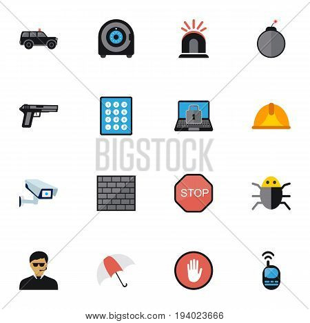 Set Of 16 Editable Procuring Icons. Includes Symbols Such As Caution, Hatchback, Password And More. Can Be Used For Web, Mobile, UI And Infographic Design.