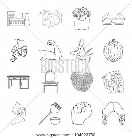 fishing, furniture, fitness and other  icon in outline style.sports, computer, history icons in set collection.