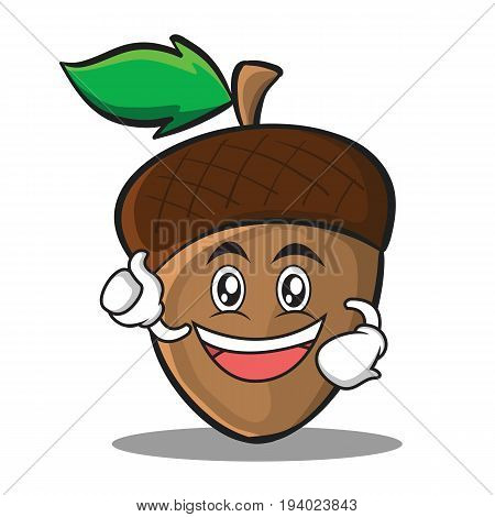 Enthusiastic acorn cartoon character style vector illustration