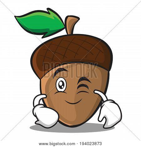 Wink acorn cartoon character style vector illustration
