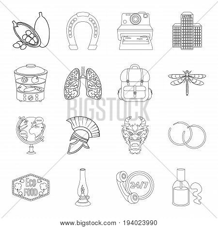 medicine, cooking, travel and other  icon in outline style.training, lighting, taxi icons in set collection.