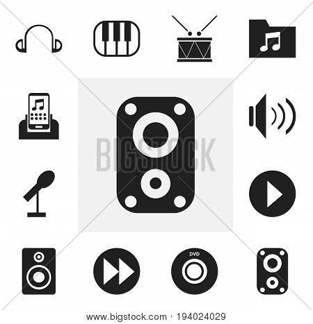 Set Of 12 Editable Song Icons. Includes Symbols Such As Timpano, Audio Bass, Earpiece And More. Can Be Used For Web, Mobile, UI And Infographic Design.
